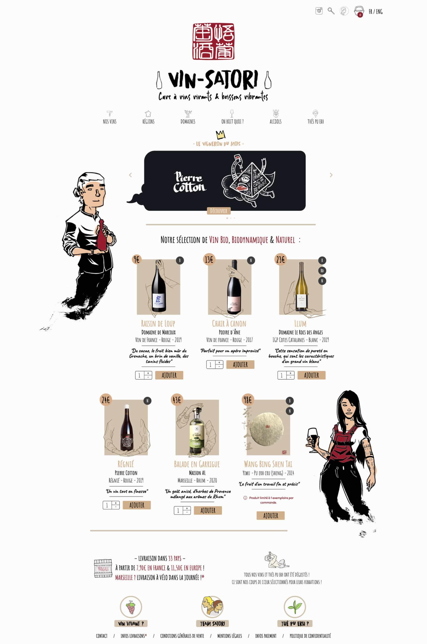 Page d'accueil de la cave en ligne Vin-Satori.